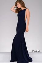 Jovani Open Back Long Jersey Dress 47100