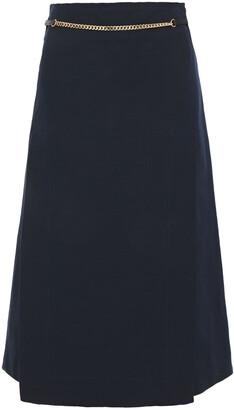 Victoria Beckham Leather And Chain-trimmed Linen And Cotton-blend Skirt