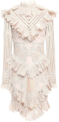 Zimmermann Ruffled Lace-appliqued Ramie-blend Mini Dress