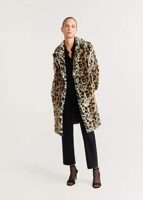 MANGO Leopard faux-fur coat brown - XXS - Women