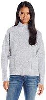 Love By Design Juniors Oversize Pocket Mock Neck Pullover Sweater