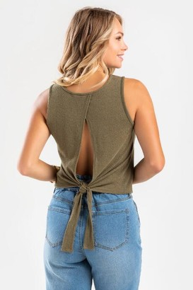 francesca's Annella Back Tie Tank Top - Olive