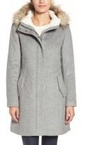 Cole Haan Women's Wool Parka With Faux Fur Trim