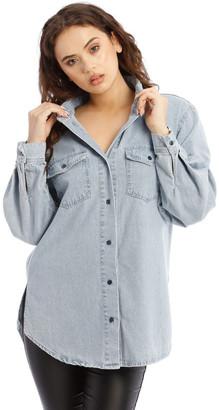 Missguided Boyfriend Fit Oversized Denim Shirt Lt