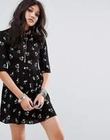 Glamorous Smock Dress In Grunge Floral