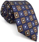 Shlax & Wing Shlax&Wing Blue Neckties Checkered Silk Tie For Men Business Suit For Men