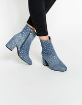 Daisy Street Star Print Denim Heeled Ankle Boots
