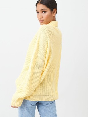 In The Style X Laura Jade Oversized Rib Knit Roll Neck Jumper - Yellow