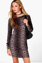 Boohoo Leah Leopard Brushed Knit Bodycon Dress