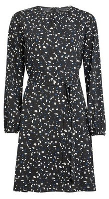 Dorothy Perkins Womens Black Abstract Print Pleat Neck Fit And Flare Dress, Black