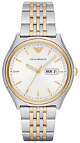 Emporio Armani Ar11034 Day Date Bracelet Strap Watch, Silver/gold