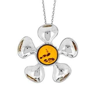 Nova Silver Cognac Amber Daisy Flower Petal Pendant on 18 inch (46cm) Silver Chain in presentation box