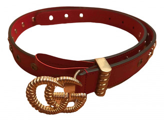 Gucci GG Buckle Red Leather Belts