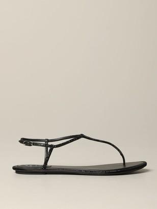 Rene Caovilla Flat Sandals Leather Sandal With Rhinestones
