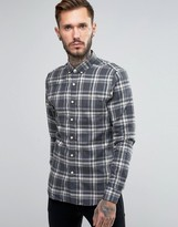Farah Shirt With Yarn Dyed Flannel Check In Slim Fit Gray