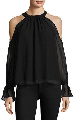 BCBGMAXAZRIA Tie Sleeve Silk Cold-Shoulder Top