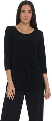 Women With Control Attitudes by Renee Como Jersey 3/4 Sleeve Tie-Front Top