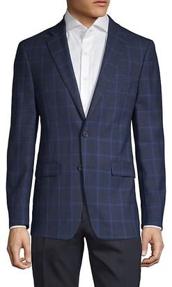 Calvin Klein Slim-Fit Windowpane Wool-Blend Sportcoat