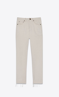 Saint Laurent Raw-edge Slim-fit Jeans In Sandy White Denim Beige Naturel 25