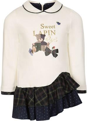 Lapin House Logo Check Long-Sleeved Dress