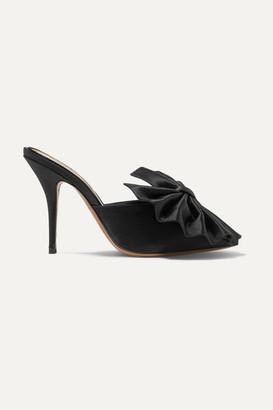 Alexandre Vauthier Kate Bow-embellished Satin Mules - Black