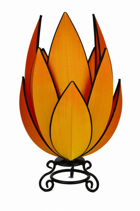 Rovan Artichoke Small Table Lamp Orange With Black Trim