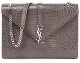 Saint Laurent Kate Monogram Crocodile-Embossed Envelope Chain Shoulder Bag
