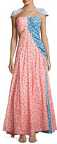 Rosie Assoulin Mixed-Print Halter Shirting Maxi Dress, Red/Blue