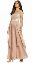 Decode 1.8 Sheer Illusion Long Sleeve Lace Applique Evening Dress