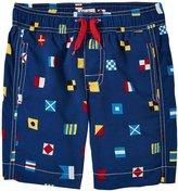 Hatley Nautical Flags Swim Trunks (Toddler/Kid) - Blue - 4T
