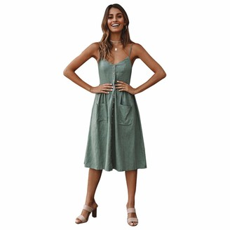 Starlifey Women's Summer Sundress Spaghetti Strap Button Down Dress with Pockets Navy