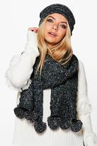 Boohoo Nina Knitted Pom Pom Hat & Scarf Set