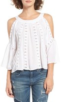 Band of Gypsies Women's Crochet Inset Cold Shoulder Blouse