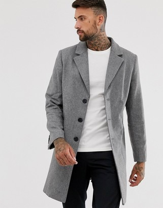 ASOS DESIGN wool mix overcoat in gray
