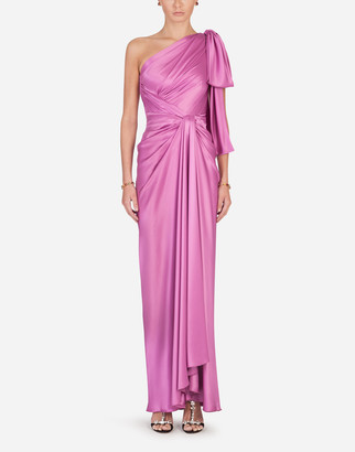 Dolce & Gabbana Long One-Shoulder Silk Dress With Bow Detail