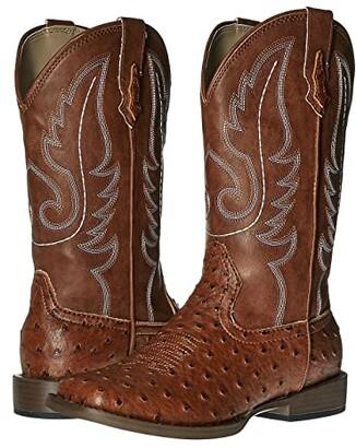 Roper Faux-Leather Ostrich Print (Big Kid) (Light Beige) Cowboy Boots