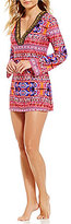 LaBlanca La Blanca Global Perspective V-Neck Long Sleeve Beaded Trim Tunic