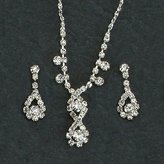 Gc Handcrafted Silver Water Drops Crystal Necklace and Earrings Set