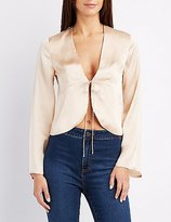 Charlotte Russe Satin Tie-Front Top