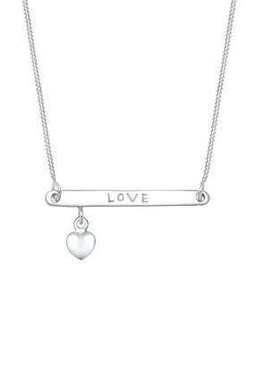 Elli Women's 925 Sterling Silver Xilion Cut Heart Necklace Of Length 45 cm