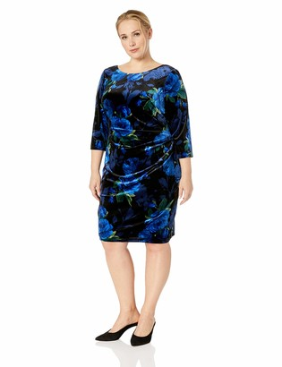 Jessica Howard JessicaHoward Plus Size Womens Three Quarter Sleeve Side Tuck Sheath Velvet Dress