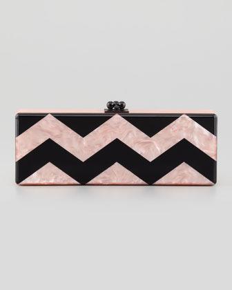 Flavia Edie Parker Chevron Acrylic Clutch Bag, Pink/Black