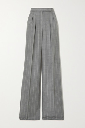 Max Mara Congo Pleated Pinstriped Wool-blend Wide-leg Pants - Gray