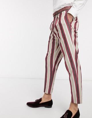 ASOS DESIGN tapered crop smart pants in stone stripe