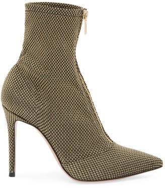 Gianvito Rossi Ferrer Zip-Up Woven Metallic Mesh Ankle Boots