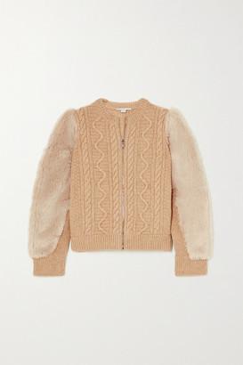 Stella McCartney Faux Fur-trimmed Cable-knit Wool Jacket - Beige