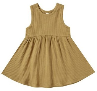 Quincy Mae Ribbed Tank Dress - Ocre - 0-3 Months