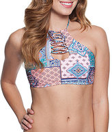 Gossip Gypsy Patch Lace-Up High Neck Underwire Halter Top
