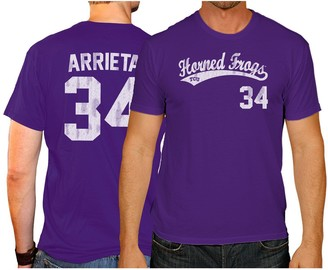 Men's Original Retro Brand Jake Arrieta Purple TCU Horned Frogs NCAA Baseball T-Shirt