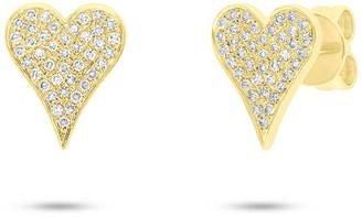 Ron Hami 14K Yellow Gold Pave Diamond Heart Stud Earrings - 0.17 ctw